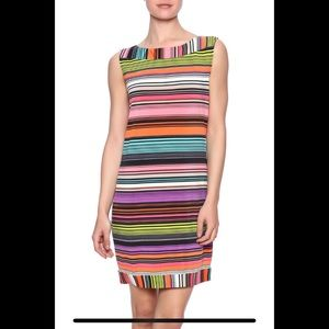 TRINA TURK Black & Rainbow Pink Striped Dress M